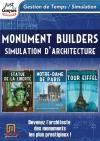 Monument builders : Notre Dame de Paris ; tour Eiffel ; statue de la Liberté